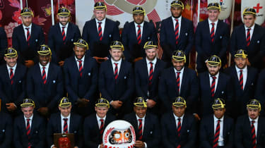 England players pose during a welcome ceremony at the Miyazaki Prefectural Government Hall