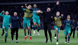 Tottenham's Lucas Moura (with ball) leads the celebrations after the win against Ajax