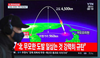South Korean media show the flight path of North Korea's latest ICBM