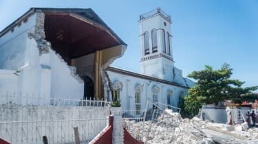 Church with collapsed wall