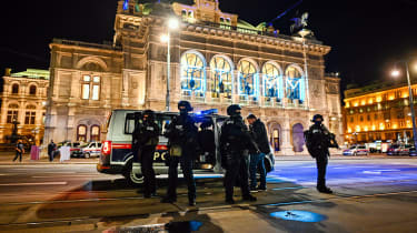 Armed police on the streets of Vienna