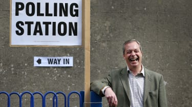 UKIP leader Nigel Farage outside polling station in Biggin Hill
