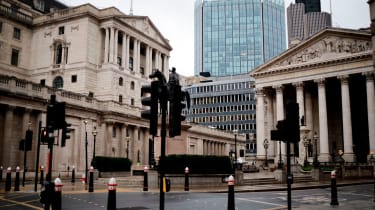Bank of England and Royal Exchange in the City of London