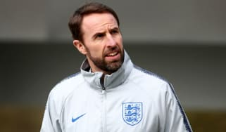 England manager Gareth Southgate takes training ahead of the match against Montenegro