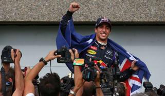 Daniel Ricciardo celebrates his first grand prix victory
