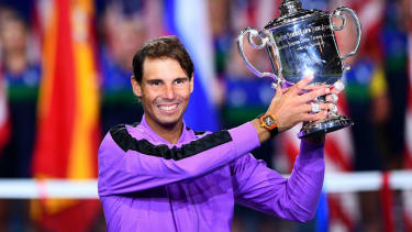 Rafael Nadal holds the trophy after his win over Daniil Medvedev in the 2019 US Open final
