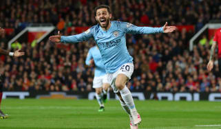 Man City's Bernardo Silva celebrates the opening goal in the 2-0 derby win against Man Utd