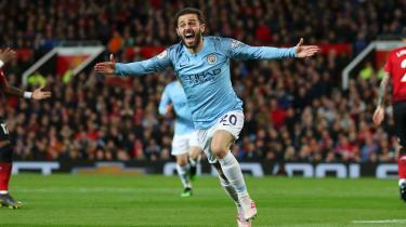 Man City's Bernardo Silva celebrates the opening goal in the 2-0 derby win against Man Utd
