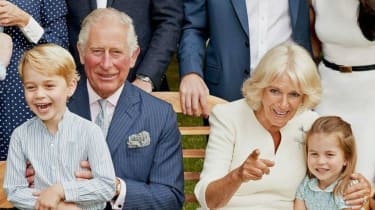Prince Charles with Prince George, Camilla and Princess Charlotte to mark his 70th birthday.