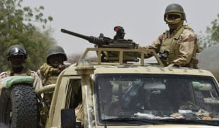 Soldiers on patrol in north-eastern Nigeria
