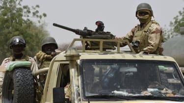 Soldiers on patrol in north-eastern Nigeria