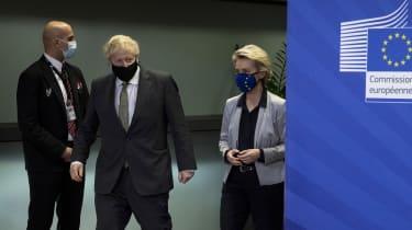 Boris Johnson and European Commission president Ursula von der Leyen meet for a dinner in Brussels