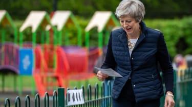 Theresa May votes