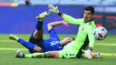 Thibaut Courtois in action for Belgium against Italy in the Uefa Nations League third-placed match