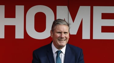 Keir Starmer during a visit to Walsall football club
