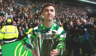 Celtic left-back Kieran Tierney celebrates the Glasgow club's 2018-19 Scottish Premiership title win