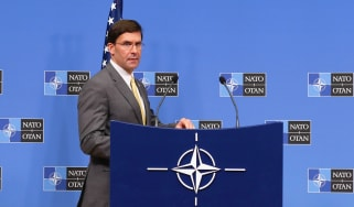BRUSSELS, BELGIUM - FEBRUARY 13: U.S Secretary of Defense Mark Esper holds a press conference as part of NATO Defense Ministers' Meeting in Brussels, Belgium on February 13, 2020. (Photo by D