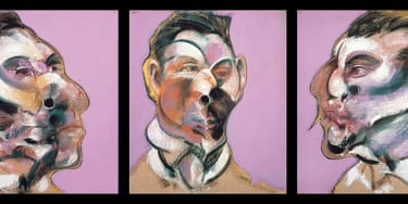 Francis Bacon's Three Studies of George Dyer - a triptych of three distorted faces against a pink background