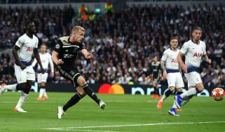 Donny van de Beek scored Ajax's winning goal against Tottenham in the semi-final first leg