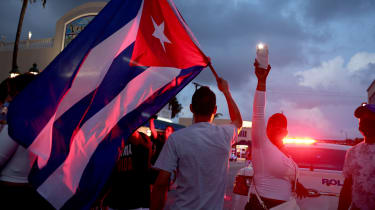 Protesters gather in Miami, Florida in solidarity with Cubans