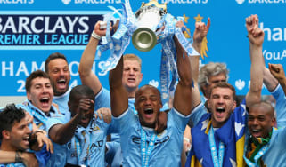 Manchester City with the Premiership trophy last season