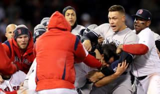 New York Yankees vs. Boston Red Sox fight baseball