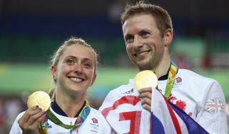 Laura and Jason Kenny with their gold medals at Rio 2016