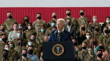Joe Biden addresses US Air Force personnel at RAF Mildenhall, Suffolk