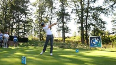 Tom Holland plays golf at Wentworth Club