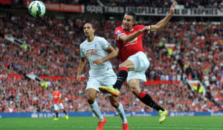 Van Persie shoots during Man Utd's 4-0 victory over QPR