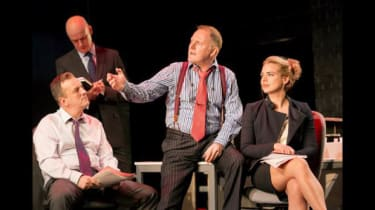 Ross Boatman, William Chubb, Robert Glenister, and Billie Piper in Great Britain