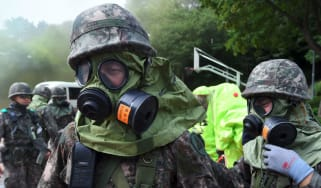 South Korean soldiers train for a surprise nuclear atack