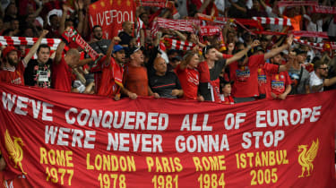 Liverpool fans support their team during the 2018 Champions League final against Real Madrid