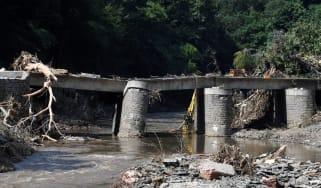 A destroyed railway bridge