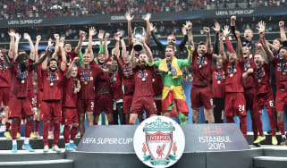 Liverpool celebrate with the Uefa Super Cup