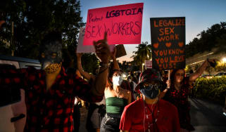 Activists and sex workers participate in a 'Slut Walk'