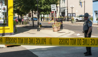 The scene where a gunman opened fire on a crowd of people in Dayton, Ohio.