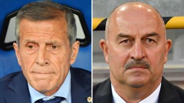 Uruguay vs. Russia Oscar Washington Tabarez Stanislav Cherchesov