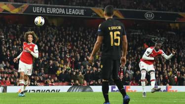 Arsenal's Nicolas Pepe scored two superb free-kicks in the 3-2 Europa League win over Vitoria