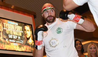 British boxer Tyson Fury works out ahead of his fight against Otto Wallin in Las Vegas