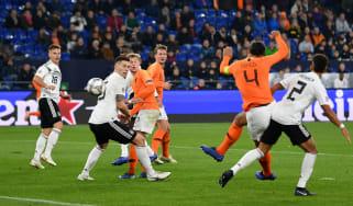 Virgil van Dijk scores Holland's equalising goal against Germany in the Uefa Nations League