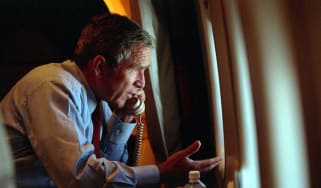 George W. Bush speaks to Vice President Dick Cheney on board Air Force One