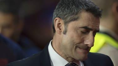 Barcelona head coach Ernesto Valverde reacts during the loss against Granada