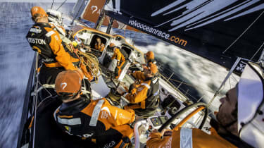 AT SEA - JANUARY 13:In this handout image provided by the Volvo Ocean Race, onboard Team Alvimedica. Day 10. Around the south of Sri Lanka the fleet enters the Bay of Bengal, still hanging on