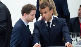 French Minister for Europe Clement Beaune with Emmanuel Macron