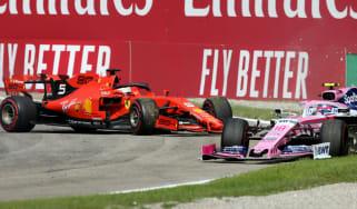Ferrari's Sebastian Vettel collided with Racing Point's Lance Stroll at the F1 Italian Grand Prix