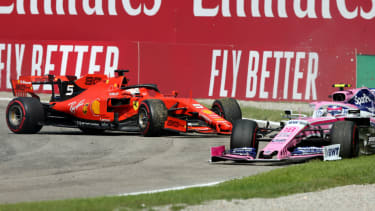 Ferrari's Sebastian Vettel collided with Racing Point's Lance Stroll at the F1 Italian Grand Prix