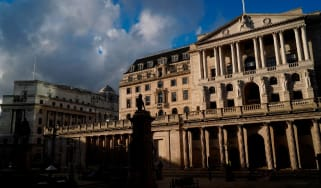 A general view is seen of the Bank of England in London