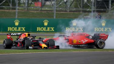Ferrari driver Sebastian Vettel crashed into the back of Red Bull's Max Verstappen at the British GP