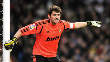 Real Madrid's goalkeeper and captain Iker Casillas reacts during the Spanish Copa del Rey (King's Cup) quarter-final football match Real Madrid CF vs Valencia CF at the Santiago Bernabeu Stad